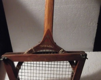 Vintage 1950's Tennis Racket with guard. Imperial wooden racket in great condition