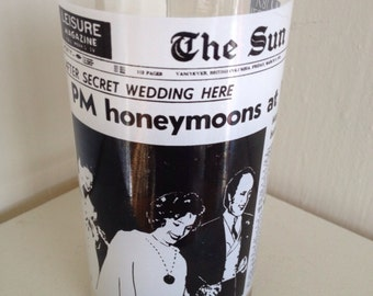 Vintage Pierre Trudeau Wedding 1971 Drinking Glass - perfect for Trudeaumania Collectors