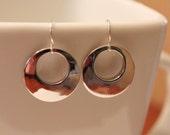Silver circle earrings, modern simple silver earrings