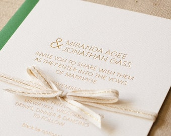 Custom Wedding Invitation - Upgradable - Gold Foil - Double Thick Paper - Sample