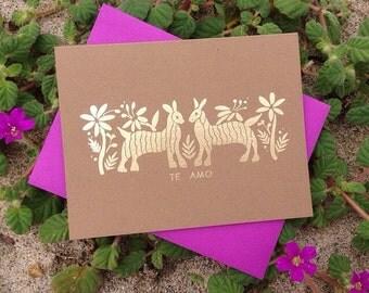 Otomi Gold Foil 'Te Amo' Card