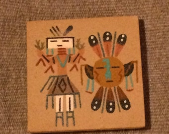 Vintage Hand Made Native American Sand Art Miniature Painting
