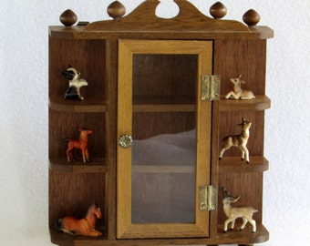 Mid Century Curio Cabinet Wooden Shelving For Miniatures With Glass Door    Decorative Top   Free