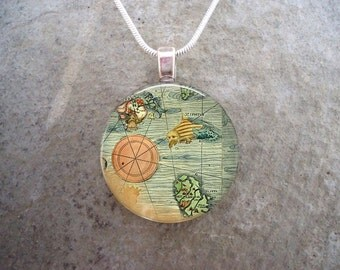 Map Jewelry - Glass Pendant Necklace - Map 2 - RETIRING 2017