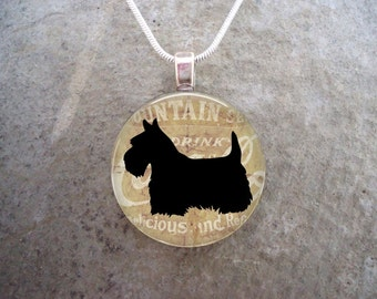 Celtic Jewelry - Dog Jewellery - Glass Pendant Necklace - Scottie Dog 20 - RETIRING 2017