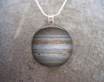 Planet Jupiter Necklace - Glass Pendant - Astronomy Jewelry
