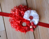 SALE! Red Polka Dot Flower Headband, Newborn Headband, Photo Prop, Boutique Headband, Bridesmaid Headband, Baby Girl Headband