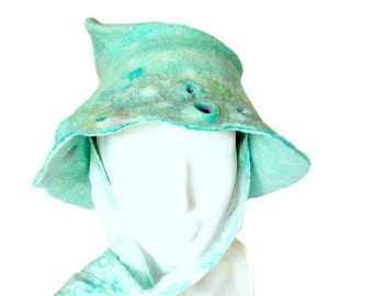 Mint Green Brimmed Hat for Winter with Tie Scarves - Sea Inspired Women's Winter Fashion