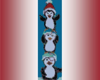 Christmas Penguins Beaded Peyote Cuff Bracelet Pattern