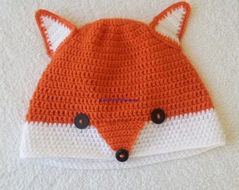 Fox hat, adult fox hat, animal hat, rochet fox hat and for women and men, valentines day gift, christmas gift