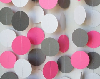 Pink / Gray / White Circle Paper Garland, Pink Gray Baby Shower Decor, Pink, Gray Wedding, Pink Birthday Party Decor, 10 feet long