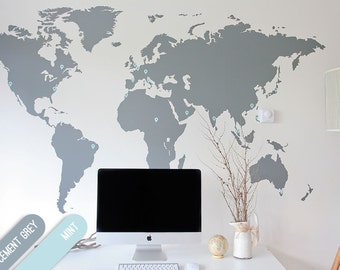 7 x 4 ft - | World Map Decal | Large World Map Vinyl Wall Sticker | Easy install World map wall decor | World Map Wall Sticker | 2.1 x 1.2 m