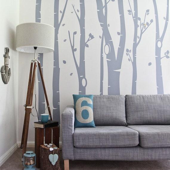 Birch Tree Forest Vinyl Wall Sticker   350 x 240 cm / 138 x 94 inches