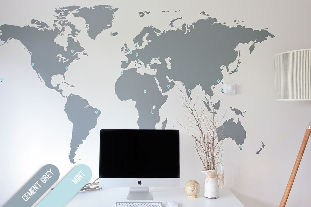 7 x 4 ft world map decal large world map vinyl wall. Black Bedroom Furniture Sets. Home Design Ideas
