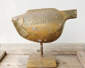 Vintage Brass Fish on Stand Mid Century Modern Accessory