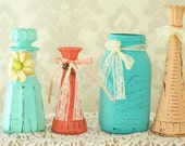 Shabby Chic Vases, Wedding decor, Mint, Peach, Coral, Teal, Set of Four Vases