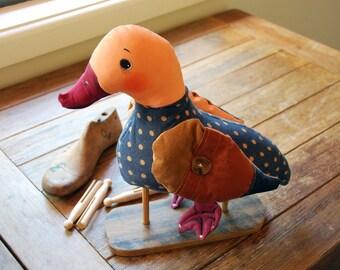 quack duck, painted art doll - soft sculpture