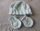 Hand knit pale turquoise baby hat and mittens