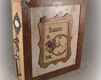 Scrapbook Album with Storage Box for Photos - Year-in-Review (12 months), Handmade, Interactive, Calendar