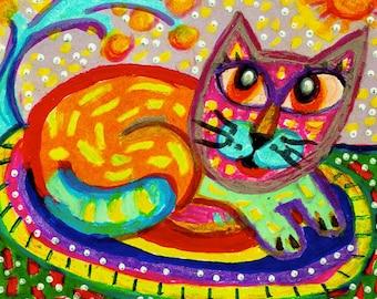 Funny Cat Art, Orange Cat, Whimsical Cat Print, Cat Decor, Nursery Decor, Art For Kids, Orange And Green, Purrfect Rug by Paula DiLeo_31115