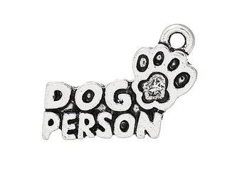 8 DOG PERSON Charms Antique Silver Tone Cute Pet Charm Jewelry Craft Supplies 18x13 mm