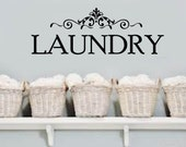 LAUNDRY Room elegant scroll Removable Home VInyl Wall Lettering Quotes Words Decal  Large Size Options