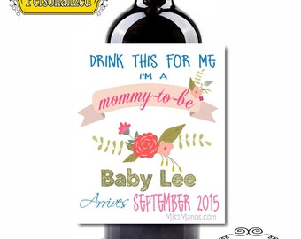 Pregnancy Announcement Wine Labels - Custom (Personalized) Chalkboard Set of 6