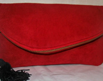Red Leather Fold Over Clutch Bag Wristlet - Handmade by iDesign For You
