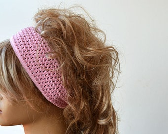 Winter Headband, Textile Knitwear  Headband, Pink  Ear Warmer Headband, Fashion Accessory, For Women