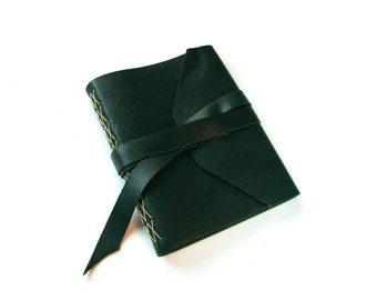 Large Blank Leather Journal with Double Wrap Tie in Dark Teal, Gift for Men,