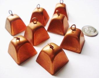 Vintage Copper Cowbells - 4 Rustic Jingle Bells - Shabby Brass Cowbells - 4 Cowbell Charms