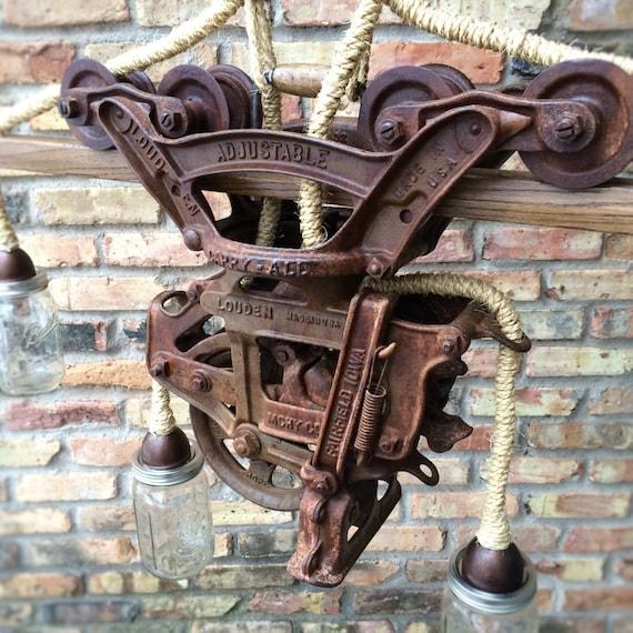 Rustic Light Industrial Chandelier Rope Pulley Yoke Wood Metal: Industrial Lighting Lamp Steampunk Light Chandelier Hay
