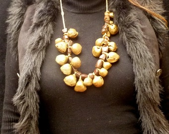 Antique Shamanic Igbo Necklace. Ethnographic Jewelry. Vintage African Bells Necklace