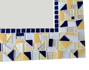 Yellow and Navy Blue Mosaic Wall Mirror