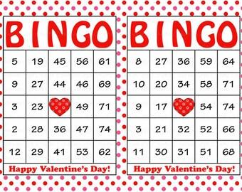30 valentines bingo cards printable valentine bingo cards instant download valentines day game - Valentine Bingo Cards