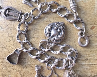 Antique Sterling Silver Victorian Charm Bracelet Chased Link Watch Chain Repousse Sterling Drum- Pipe- Lyre- Bird- Victorian Charms c 1880