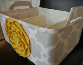 """LG Diaper Caddy12""""x10""""x6""""(Choose COLORS)-Two Dividers-Baby Gift-Fabric Storage Organizer-""""Mustard Yellow Rose on Grey/Neutral Tarica"""""""