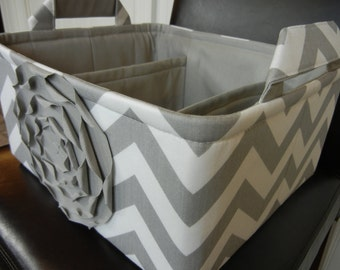 """LG Diaper Caddy(choose COLORS)12""""x10""""x6"""" Two Dividers-Baby Gift-Fabric Storage Organizer-Chevron-""""Grey Rose on Grey Zigzag"""""""