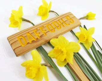 DAFFODILS Garden Marker, Yellow Flower Plant Sign, Spring Garden Gift, Marker for your Flower Bulbs, Custom Garden Sign, Personalized Marker