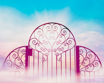 Heavens Gate -Faith Christianity -Clouds & Sky -Wrought Iron -Pink  Blue Pastels -Girl's Bedroom Decor -Fine Art Print -Wall Art Home Decor