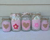 Valentine Vintage Mason Jars - Heart Doilies, Burlap & Ribbon
