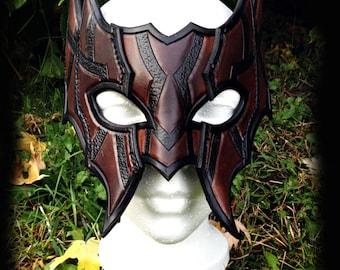 Rogue Leather Mask, costume, masquerade, fantasy, brown, black, larp, larping, halloween