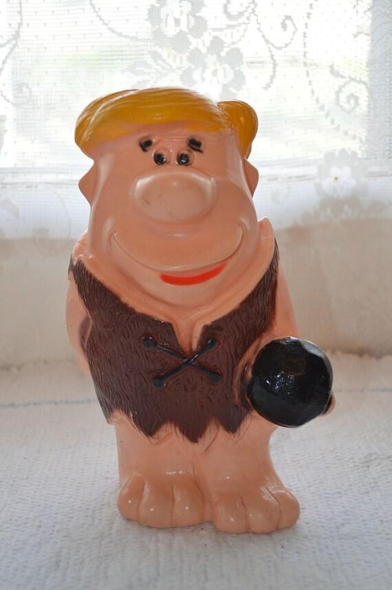 Vintage Barney Rubble Flintstones Plastic Coin Bank