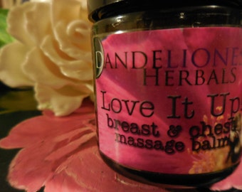 Love It Up! Breast and Chest Massage Balm for love, grief, loss, emotional release, herbal lymphatic support, for ALL bodies and ALL genders