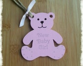New Baby Girl Pale Pink Hanging Teddy Bear Decoration Gift