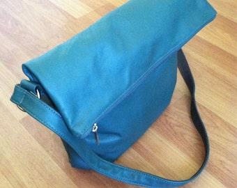 Foldover Leather Crossbody Bag, Green Leather Bags, Stylish Fashion Handbag, Trendy Purses, Julia