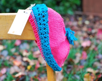 Handknit Toddler Girl Beret Bright Pink Teal 2T-3T