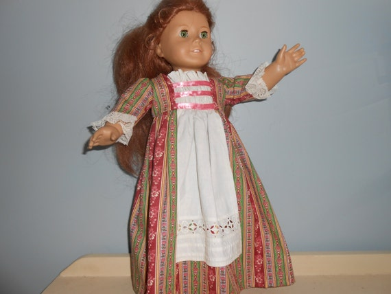 18 inch doll Colonial, Historic style dress, floor length with ribbon bodice and sewn in apron by Project Funway on Etsy