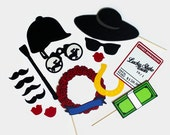 Kentucky Derby Photo Booth Props - Set of 16 Photobooth Party Props includes Rose Garland, Bet Ticket, Jockey Hat, and Money