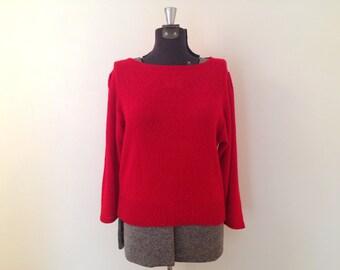 Vintage Red Sweater / Medium/Large / Boatneck Sweatert